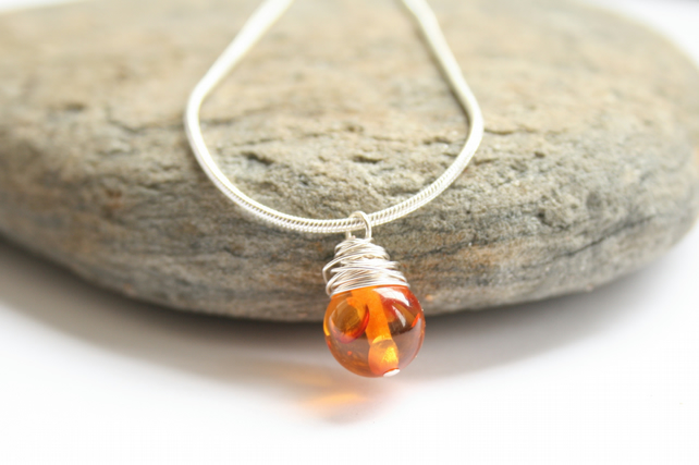 Wire wrapped amber necklace, gemstone necklace, Baltic amber