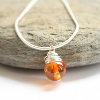 Wire wrapped amber necklace, gemstone necklace, amber necklace gemstone necklace