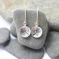 Silver earrings, stamped earrings, dangle earrings, dandelion earrings
