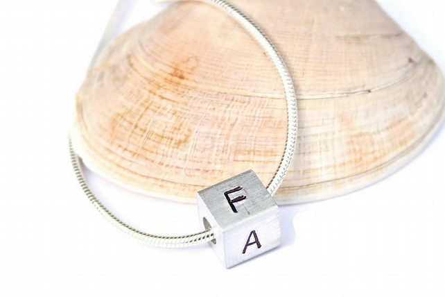Hand stamped necklace, initial necklace, personalised necklace, mothers day gift