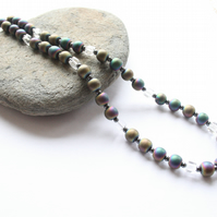 Hematite necklace, rainbow hematite necklace, gemstone necklace