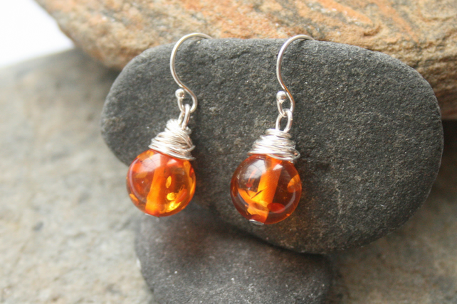 Wire wrapped amber earrings, sterling silver earrings, gemstone earrings