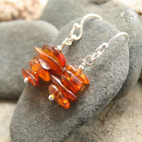 Amber earrings, amber chip earrings, nature lover gift, dangle earrings