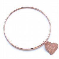 Copper bangle, stacking bangles, heart bangle, valentine's gift