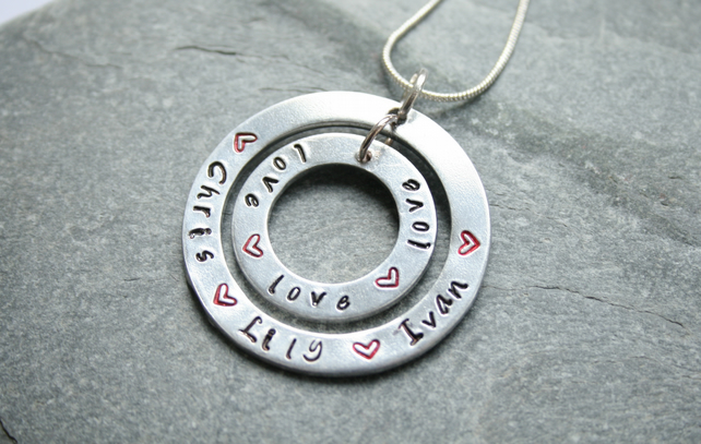 Stamped necklace, double washer necklace, personalised gift, mother's day gift