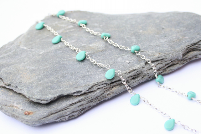 Silver necklace, pressed glass necklace, turquoise necklace, Christmas gift idea