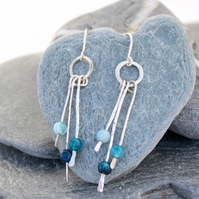 Long agate and silver dangle earrings