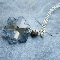 Swarovski crystal necklace, snowflake necklace, Christmas necklace, gift for her