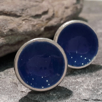 Dark blue enamel stud earrings