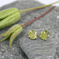 Peridot stud earrings, claw stud earrings, gemstone earrings, silver earrings