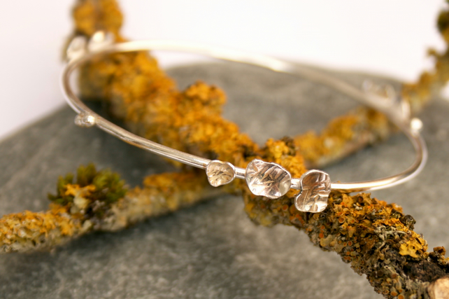 Sterling silver branch bangle