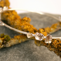 Sterling silver bangle, lichen bangle, stackable bangle