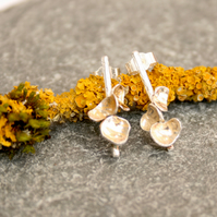 Sterling silver earrings, lichen earrings, bar earrings, nature earrings