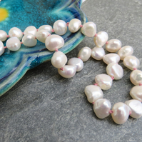 Pearl necklace, wedding necklace, knotted pearl necklace