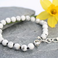 Adjustable white howlite bracelet