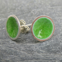 Green enamel stud earrings