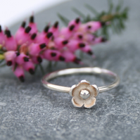Sterling silver flower ring, stackable ring, dainty ring