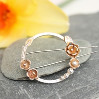 Sterling silver brooch, flower brooch, handmade brooch