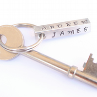 Personalised keyring, hand stamped keyring, Valentines, house warming