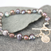 Pearl wedding toggle bracelet