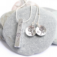 Jewellery set, silver jewellery, hand stamped jewellery, personalised gift set