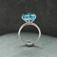 Sterling silver and blue statement ring