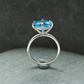 Silver ring, blue stone ring, claw ring, cocktail ring, party ring, large ring