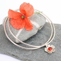 Sterling silver bangle, charm bangle, stacking bangle, flower bangle, carnelian