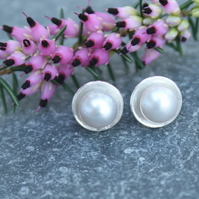 Sterling silver pearl stud earrings, silver earrings
