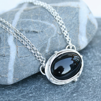 Onyx and silver necklace