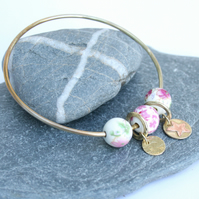 Brass bangle, charm bangle, solid bangle, bangle with beads