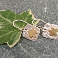 Flower earrings, silver earrings, gardener gift, silver and brass earrings