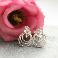 Sterling silver flower earrings, silver earrings