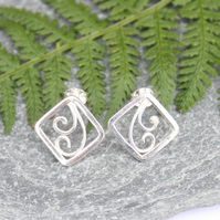 Silver fern earrings
