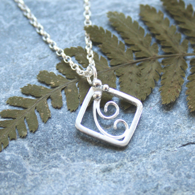 Sterling silver square necklace inspired by ferns