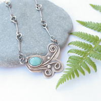 Sterling silver botanical necklace inspired by ferns