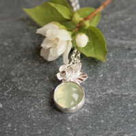 Prehnite and silver botanical necklace
