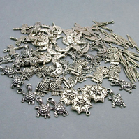 Destash - over 220 Tibetan Silver charms