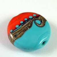 Reserved For Janet Turquoise and Coral Lampwork Focal Bead