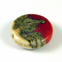 Red Organic Handmade Lampwork Glass Focal Bead