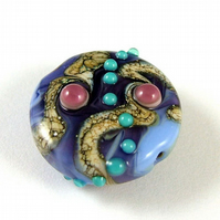 Purple and Teal Handmade Lampwork Glass Focal Bead