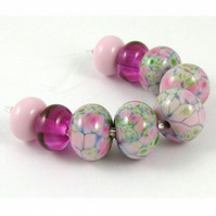 Cottage Garden - Handmade Lampwork Glass Beads - SRA