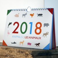 2018 Bilingual Calendar: Animals