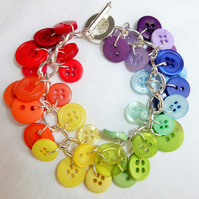 Handcrafted Beautiful Rainbow Button Charm Bracelet