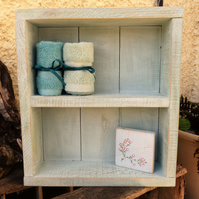 Shabby Chic Reclaimed wood Hand Painted Duck Egg Shelving Unit
