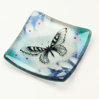 Fused Glass Ring Dish with Handpainted Butterfly