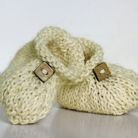 Handmade British Alpaca Booties - Cream