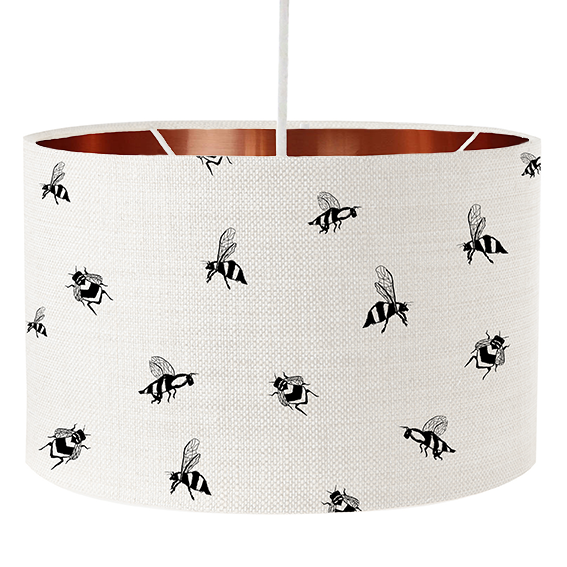 Animal lampshades- screen printed - Bronze inside detail
