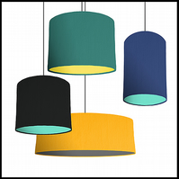 Mix & Match lampshade - Choice of fabric and lining colour - 40cm wide
