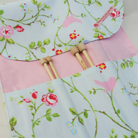 Knitting needle roll  case. 'Delicate birds' fabric. UK Seller